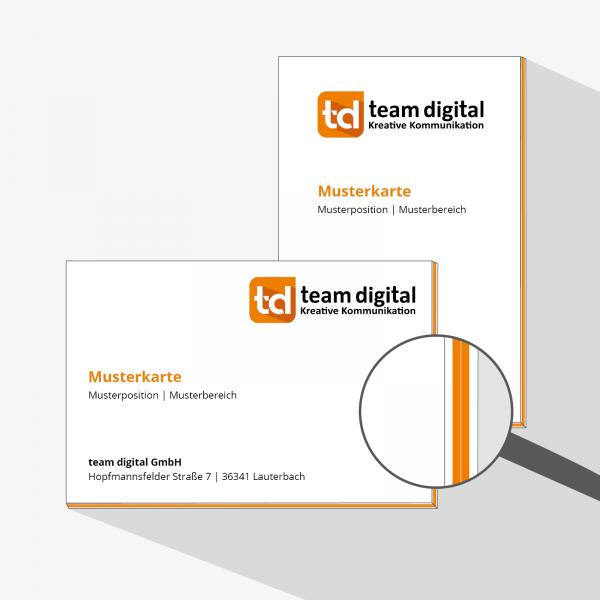 Unser Highlight – Deluxe-Visitenkarten mit Farbkante – druckexperten.de